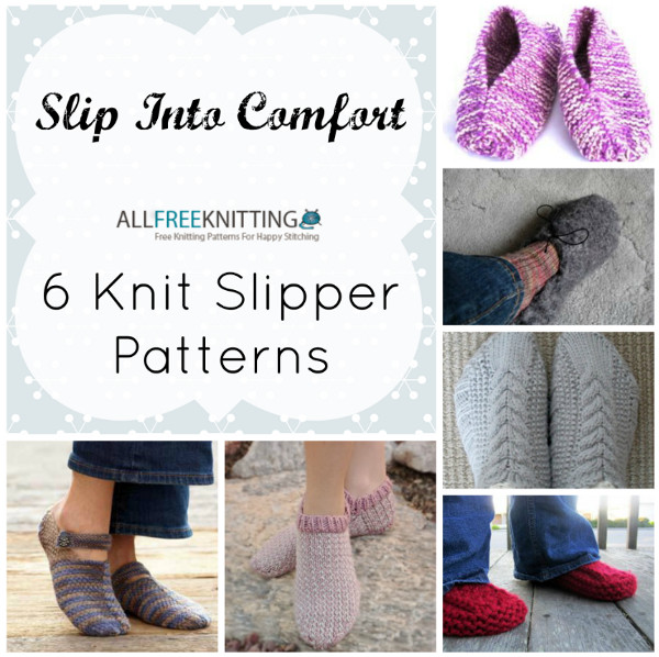 Knitting Pattern Slip On Slippers : Slip Into Comfort: 6 Knit Slipper Patterns: - Stitch and Unwind