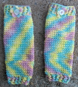 An example of pooling in a pair of baby legwarmers I crocheted.