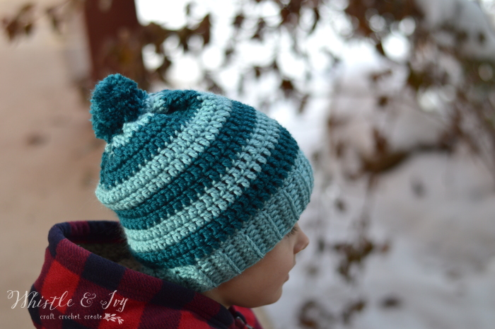 Free Crochet Patterns Using Pom Pom Yarn : Schoolyard Pom-pom Hat Crochet Pattern - Stitch and Unwind