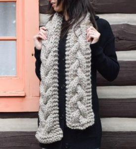 Cascading Cables Knit Scarf