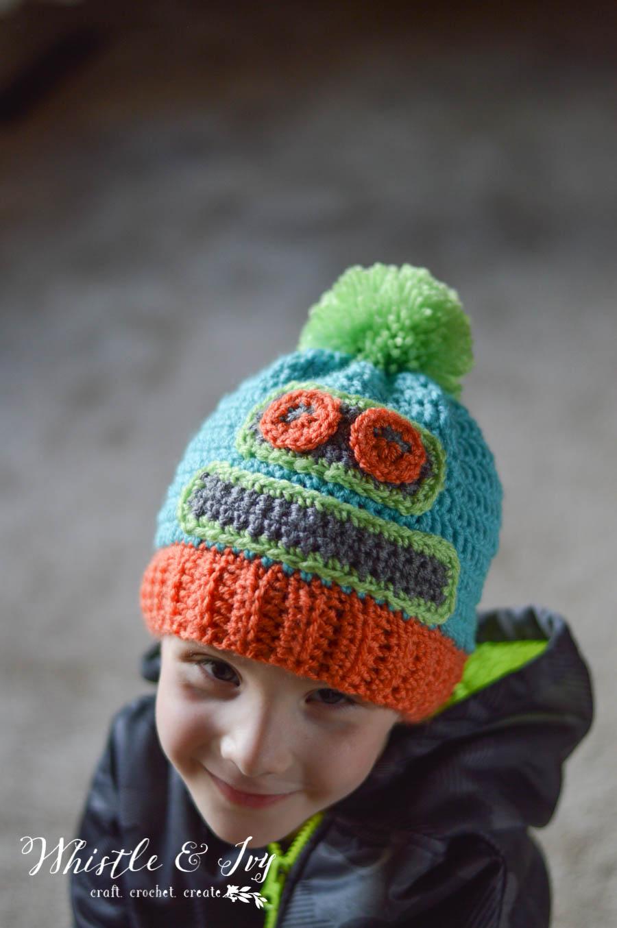 Kids Crochet Robot Hat - Stitch and Unwind