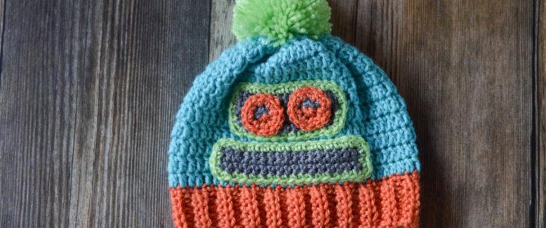 Kids Crochet Robot Hat